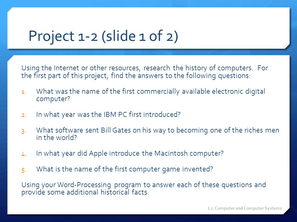 Project 1-2 (slide 1 of 2)