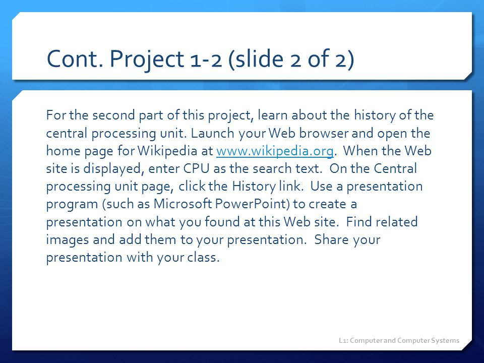 Cont. Project 1-2 (slide 2 of 2)