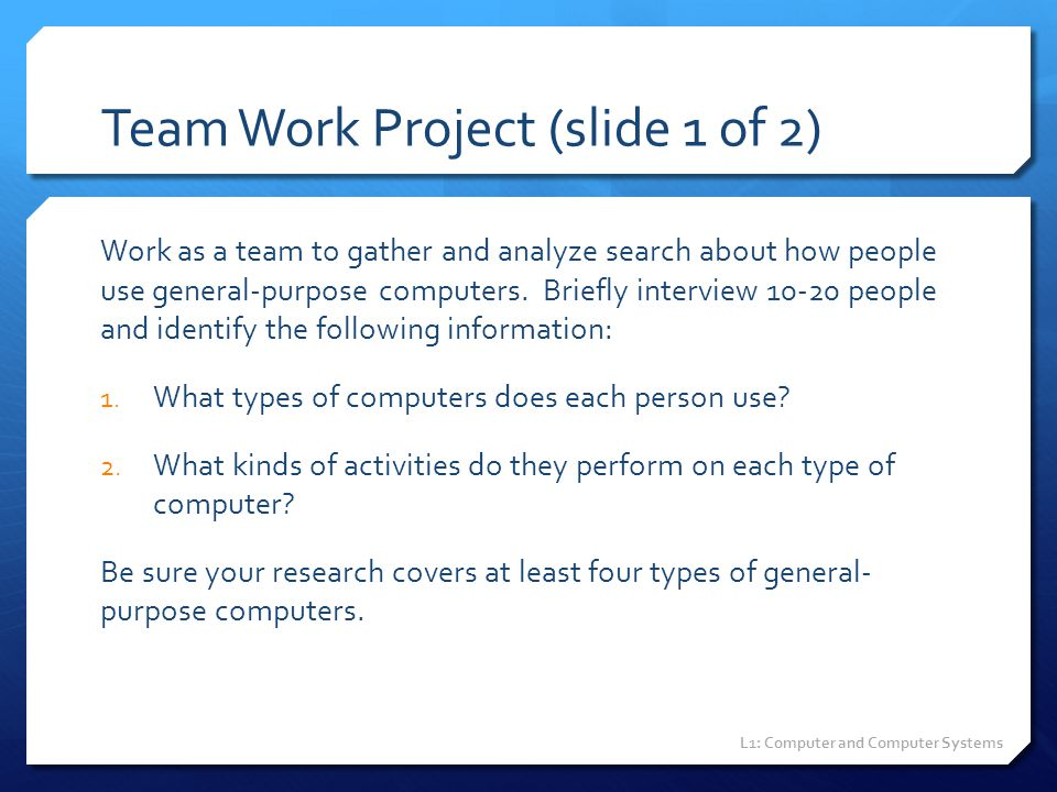 Team Work Project (slide 1 of 2)