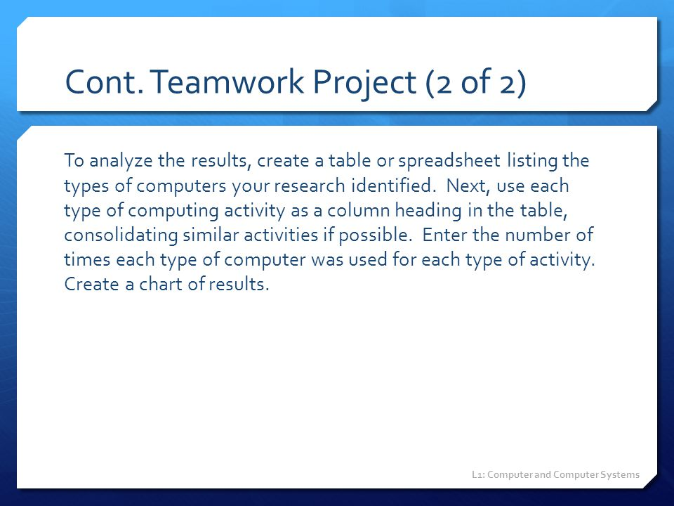 Cont. Teamwork Project (2 of 2)