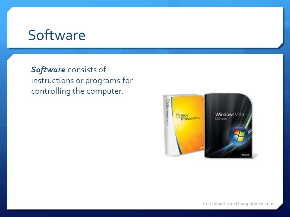 Software Software consists of instructions or programs for controlling the computer.