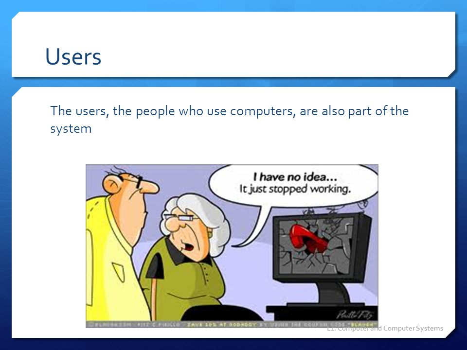 Users The users, the people who use computers, are also part of the system.