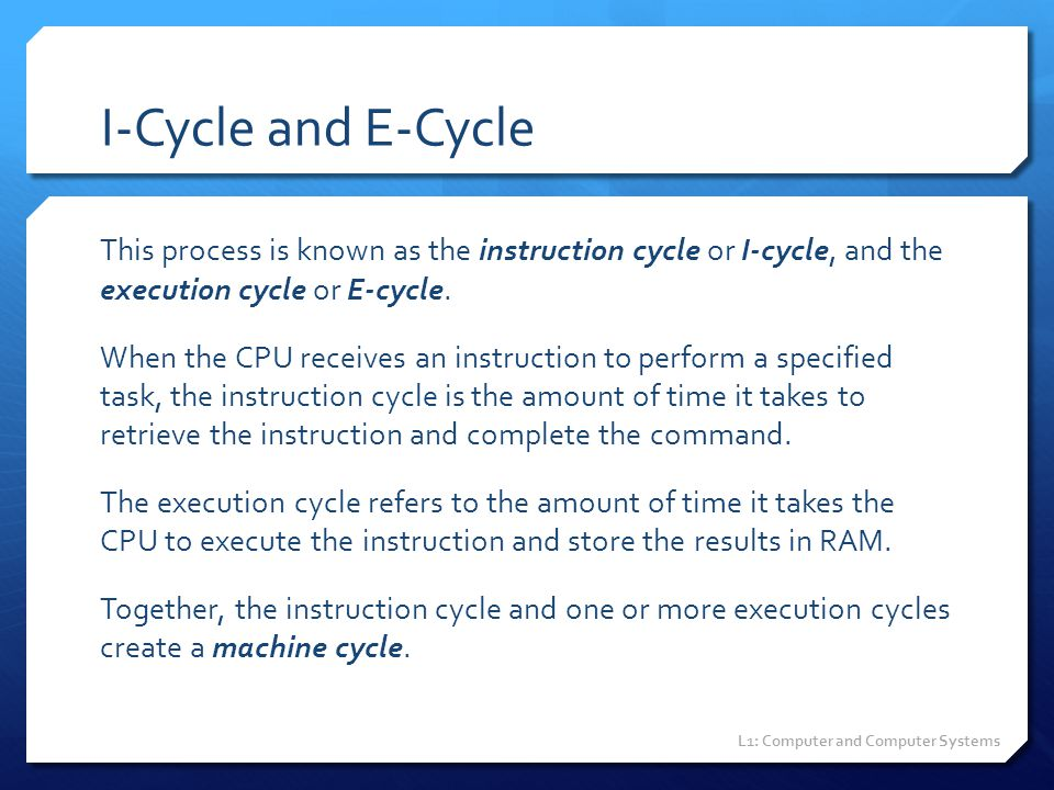 I-Cycle and E-Cycle