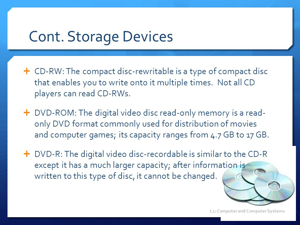 Cont. Storage Devices