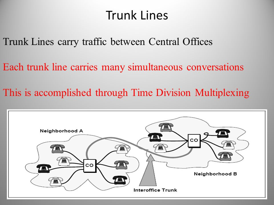 Trunk Lines Trunk Lines carry traffic between Central Offices