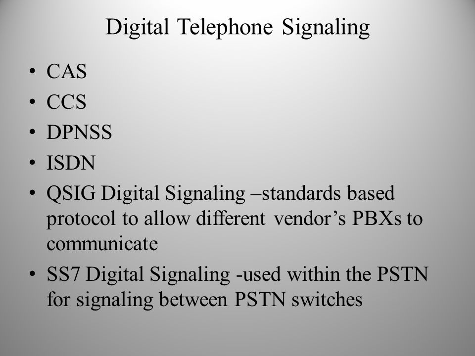 Digital Telephone Signaling