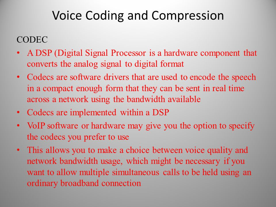 Voice Coding and Compression