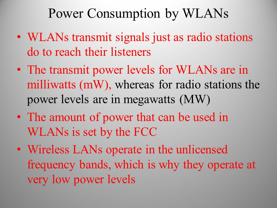 Power Consumption by WLANs
