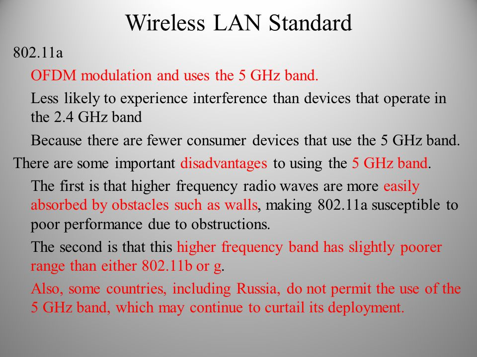 Wireless LAN Standard 802.11a OFDM modulation and uses the 5 GHz band.