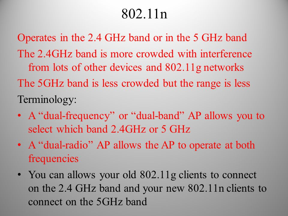 802.11n Operates in the 2.4 GHz band or in the 5 GHz band