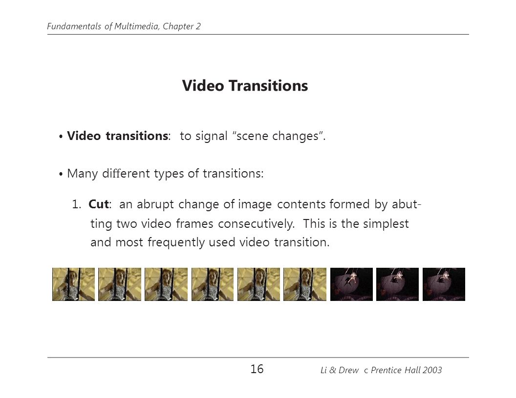 • Video transitions: to signal scene changes .