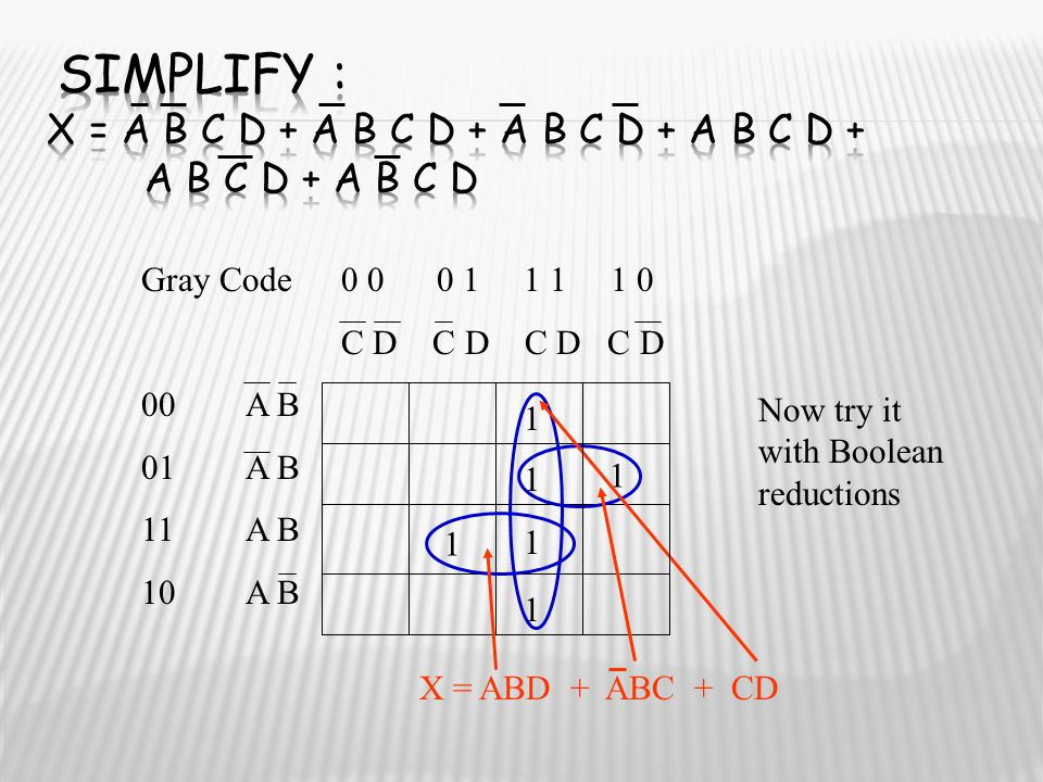Simplify : X = A B C D + A B C D + A B C D + A B C D + A B C D + A B C D