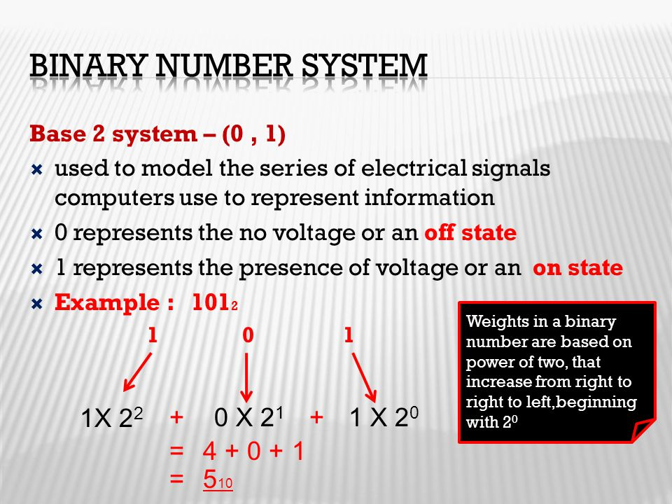 Binary Number System 1X 22 + 0 X 21 + 1 X 20 = 4 + 0 + 1 = 510