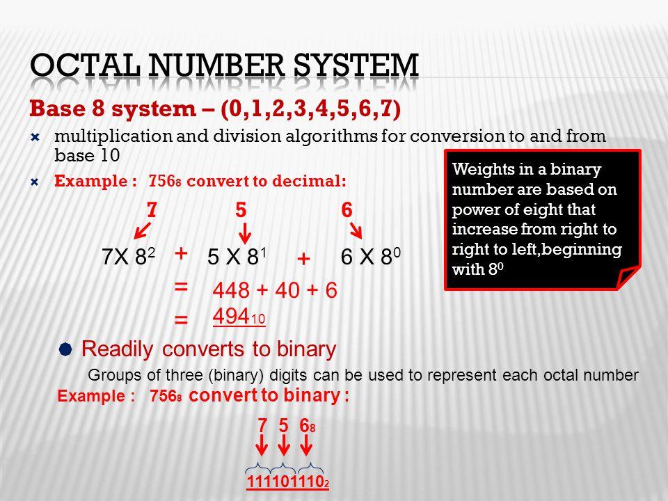 Octal Number System + + = = Base 8 system – (0,1,2,3,4,5,6,7) 7X 82