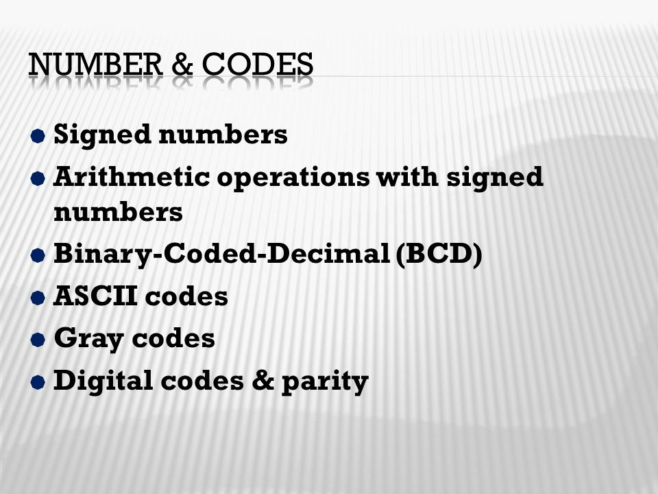 Number & codes Signed numbers