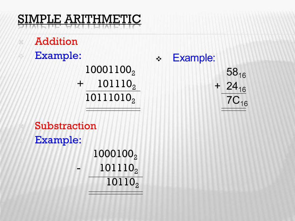 Simple Arithmetic Addition Example: Example: 100011002 5816 + 1011102