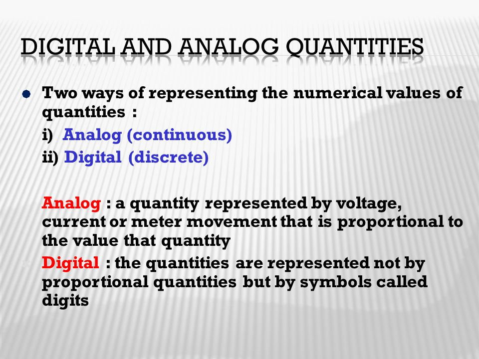 Digital and analog quantities