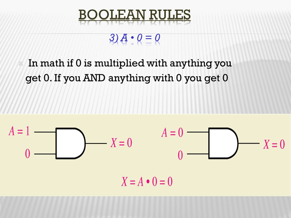 Boolean Rules 3) A • 0 = 0 In math if 0 is multiplied with anything you.