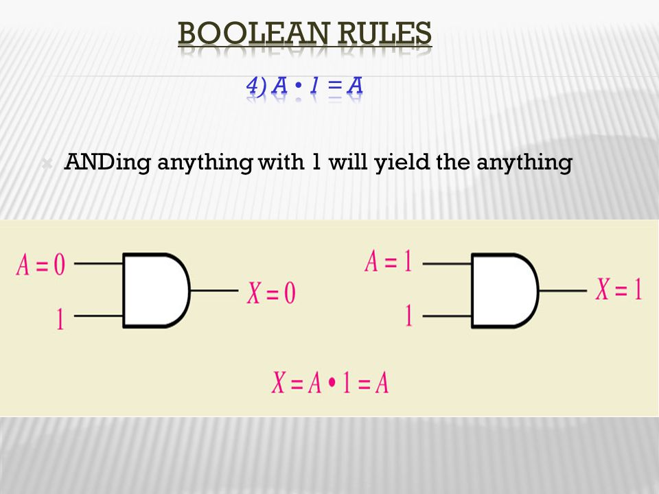 Boolean Rules 4) A • 1 = A ANDing anything with 1 will yield the anything