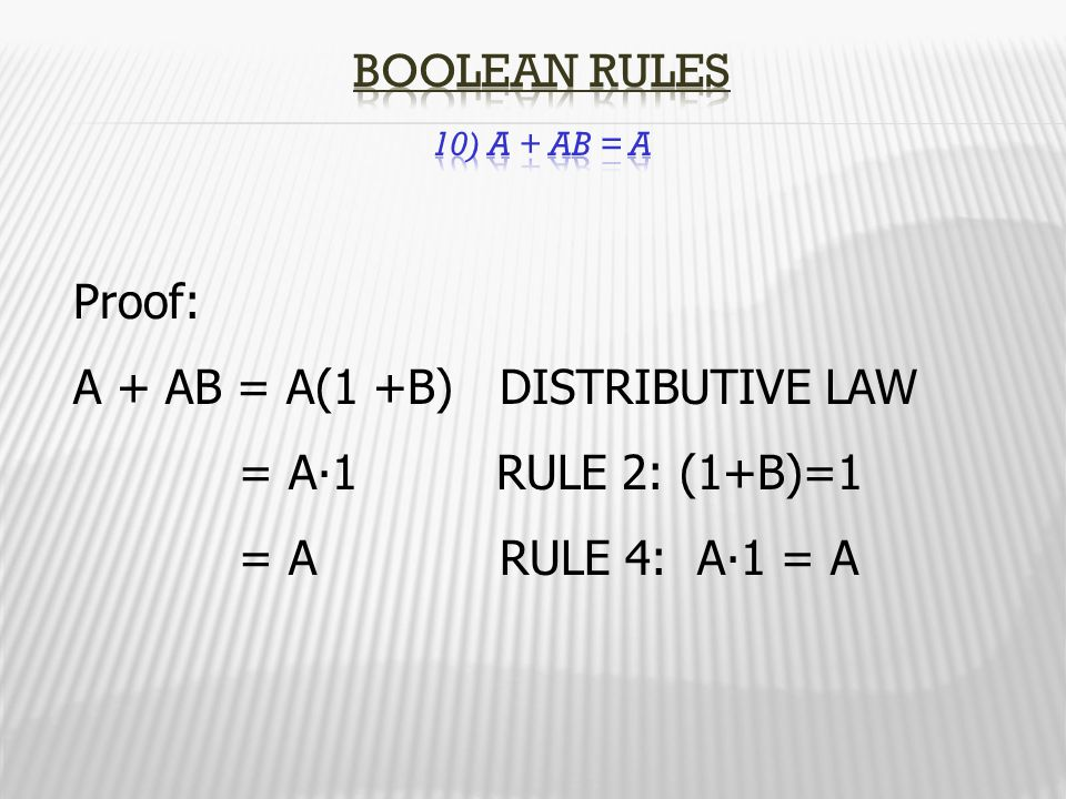 Boolean Rules 10) A + AB = A Proof: A + AB = A(1 +B) DISTRIBUTIVE LAW. = A∙1 RULE 2: (1+B)=1.