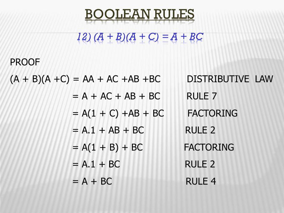 Boolean Rules 12) (A + B)(A + C) = A + BC