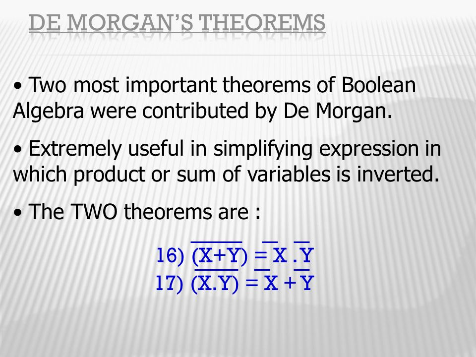 De Morgan's Theorems Two most important theorems of Boolean Algebra were contributed by De Morgan.