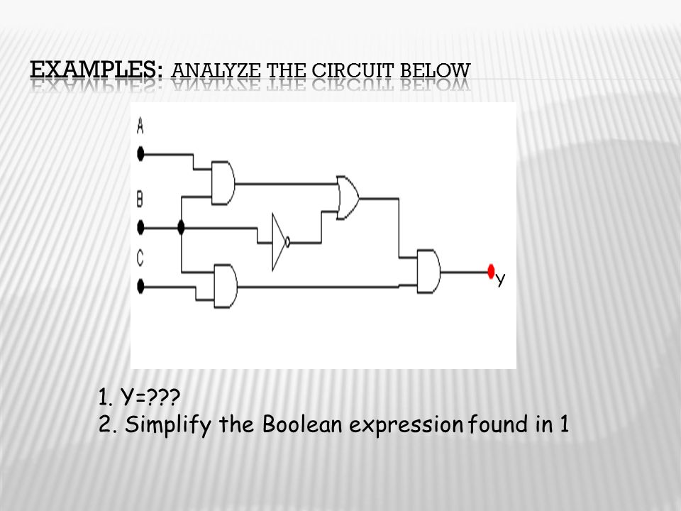 Examples: Analyze the circuit below