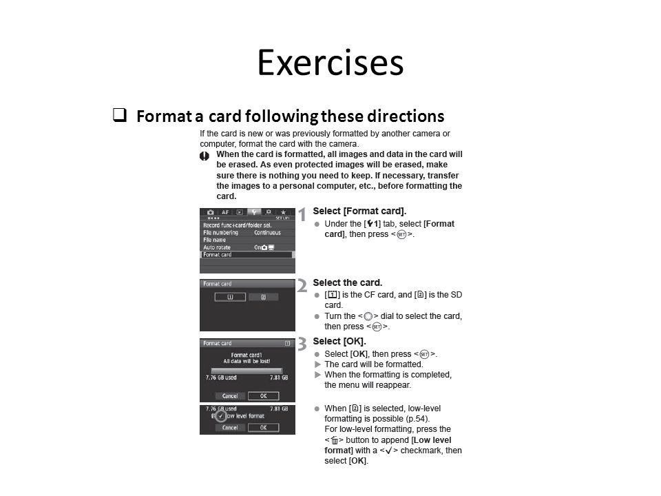 Exercises Format a card following these directions