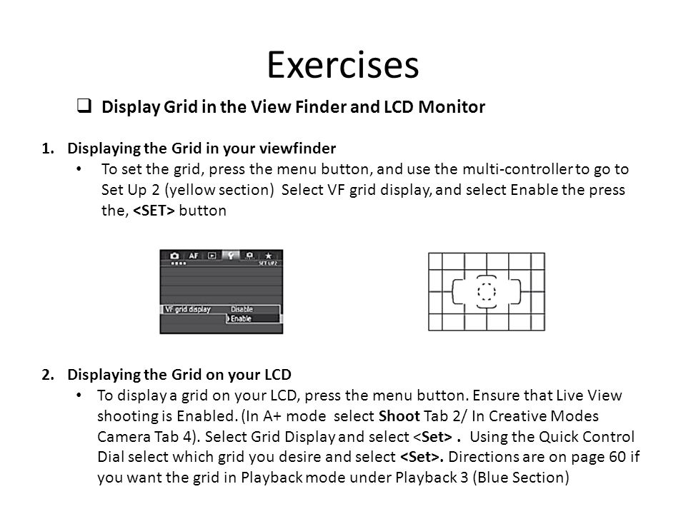 Exercises Display Grid in the View Finder and LCD Monitor