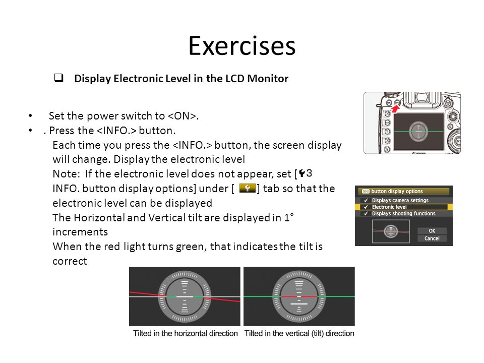 Exercises Display Electronic Level in the LCD Monitor