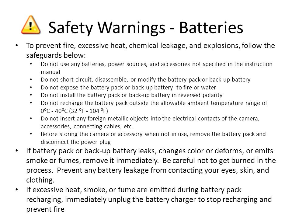 Safety Warnings - Batteries