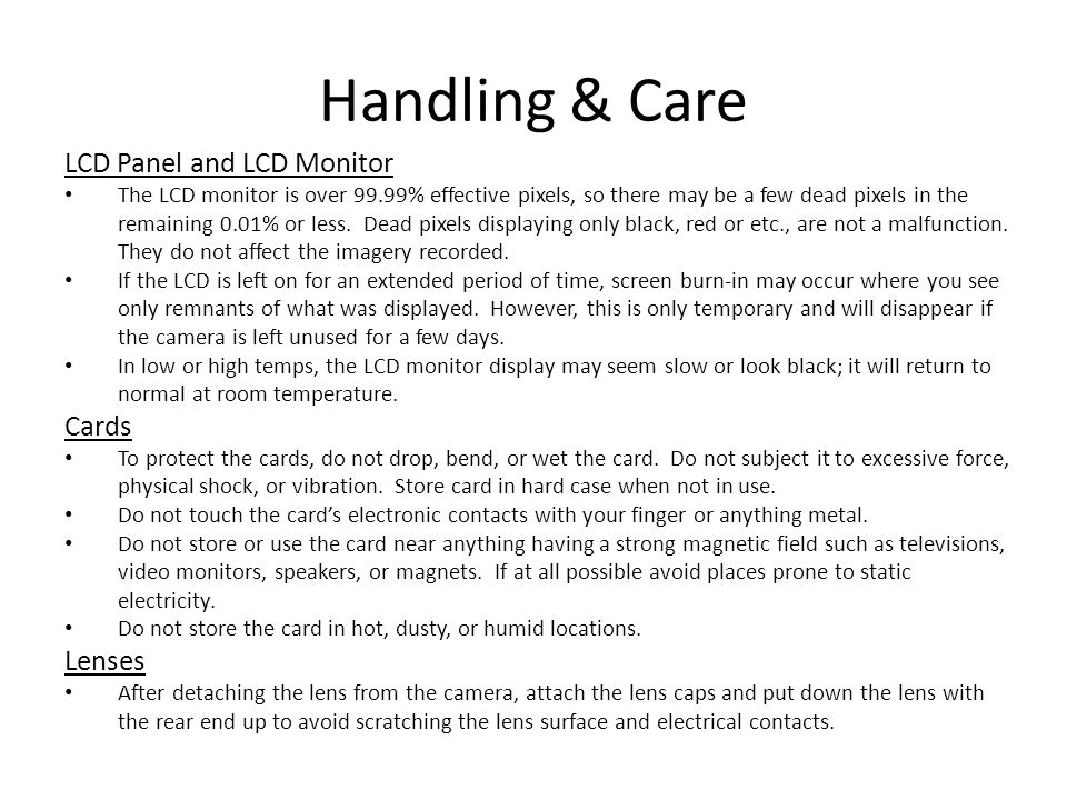 Handling & Care LCD Panel and LCD Monitor Cards Lenses