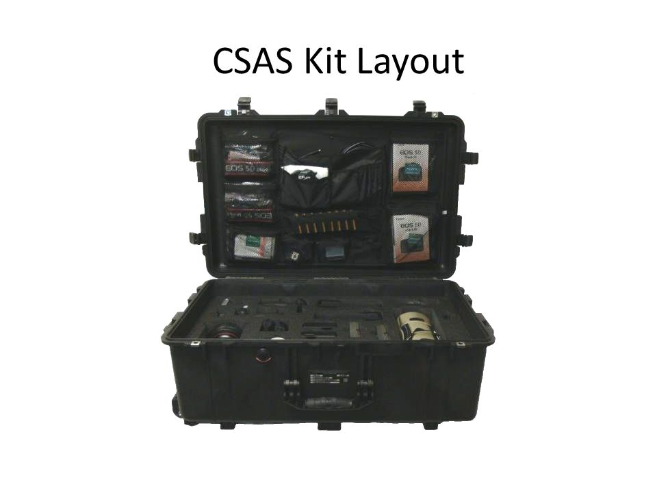 CSAS Kit Layout Review the kit layout. There is no cleaning kit.