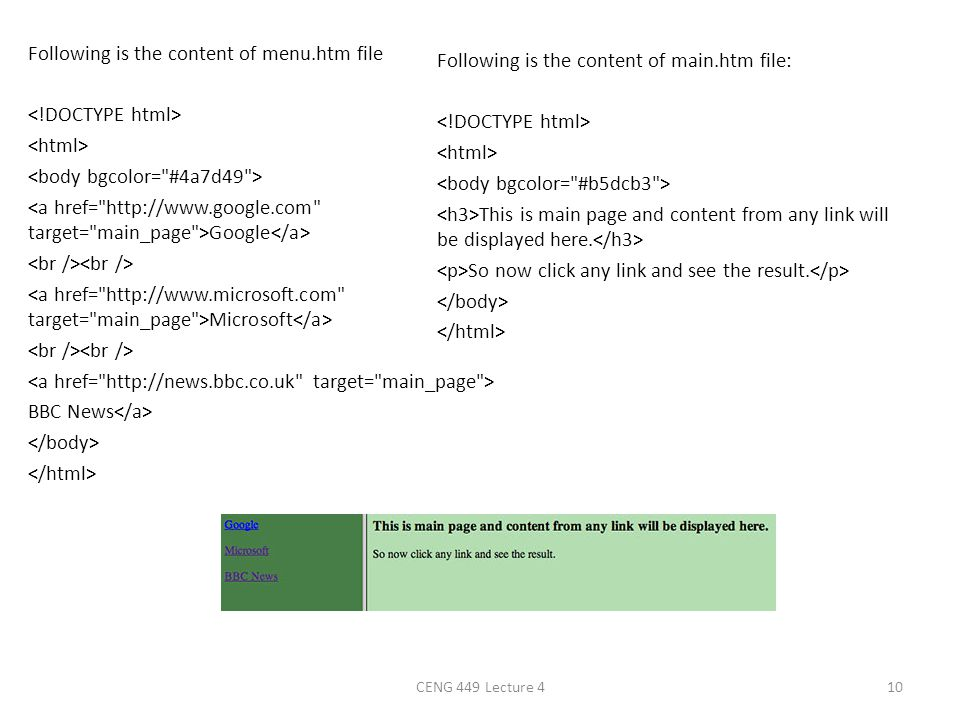 Following is the content of menu. htm file <