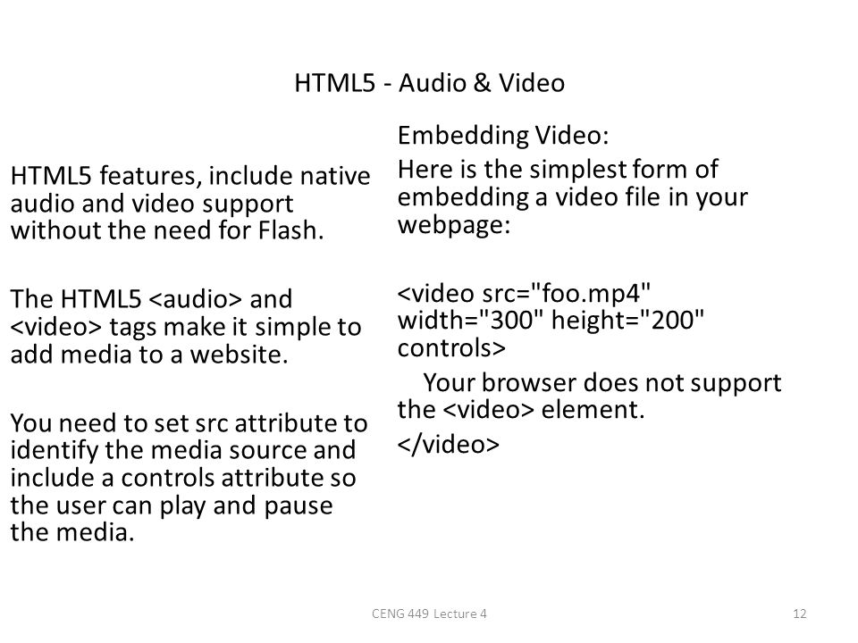HTML5 - Audio & Video