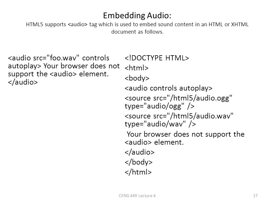 Embedding Audio: HTML5 supports <audio> tag which is used to embed sound content in an HTML or XHTML document as follows.