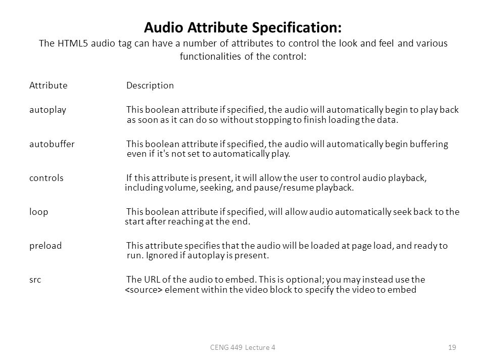 Audio Attribute Specification: The HTML5 audio tag can have a number of attributes to control the look and feel and various functionalities of the control: