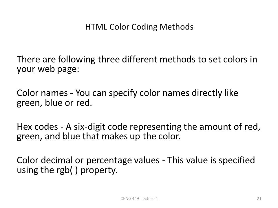 HTML Color Coding Methods