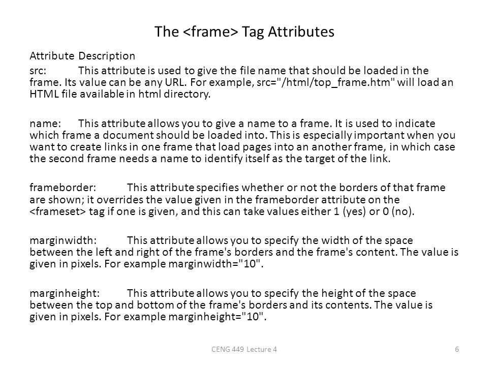 The <frame> Tag Attributes