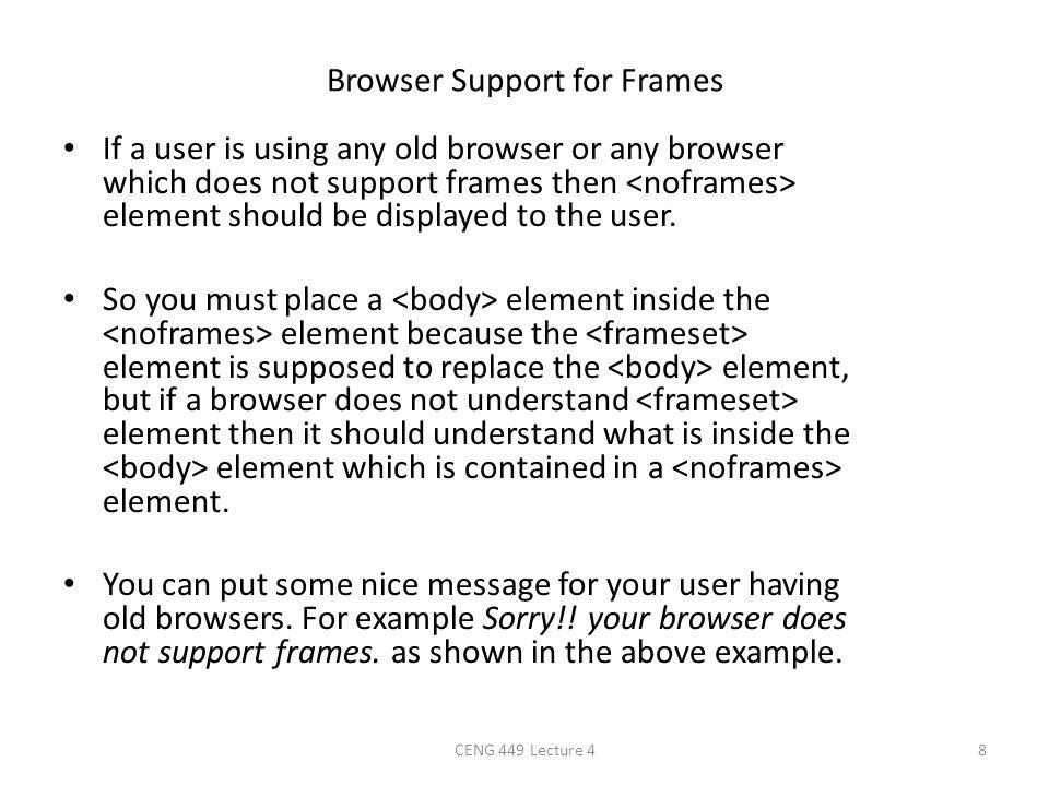 Browser Support for Frames