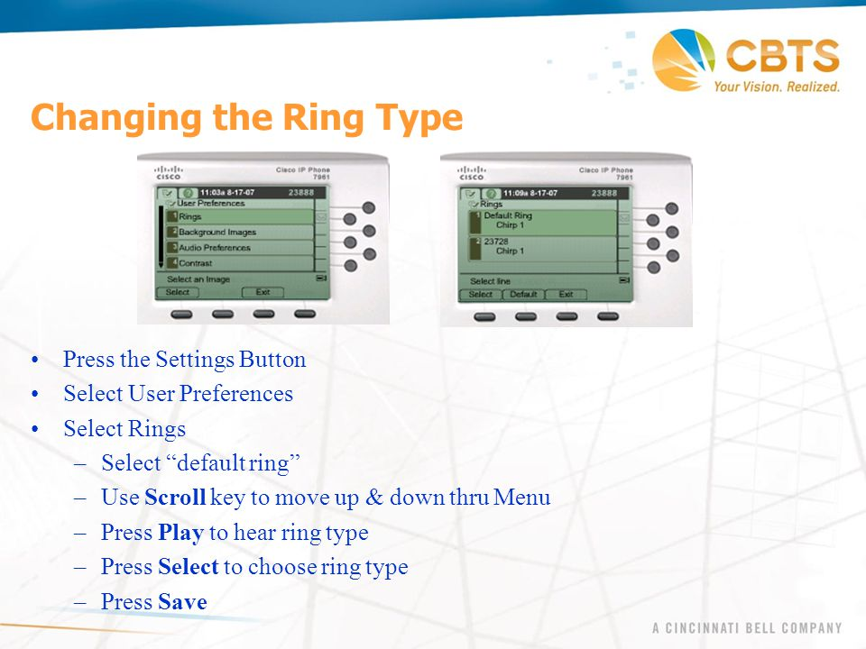 Changing the Ring Type Press the Settings Button