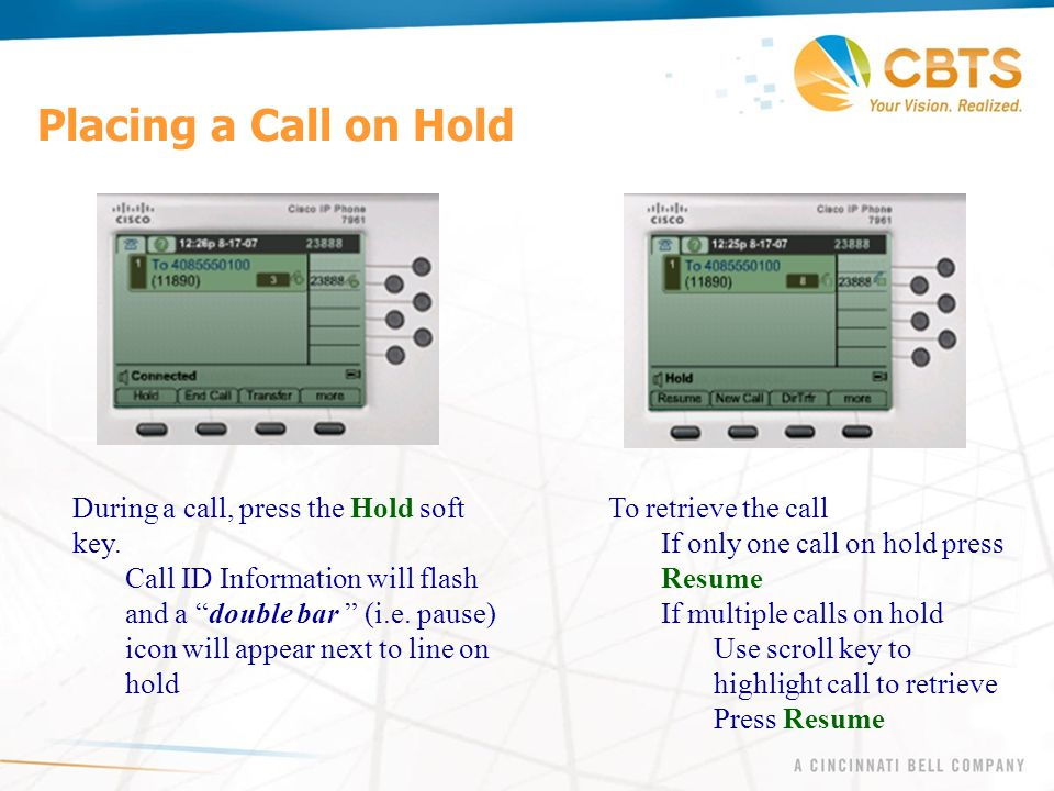 Placing a Call on Hold During a call, press the Hold soft key.