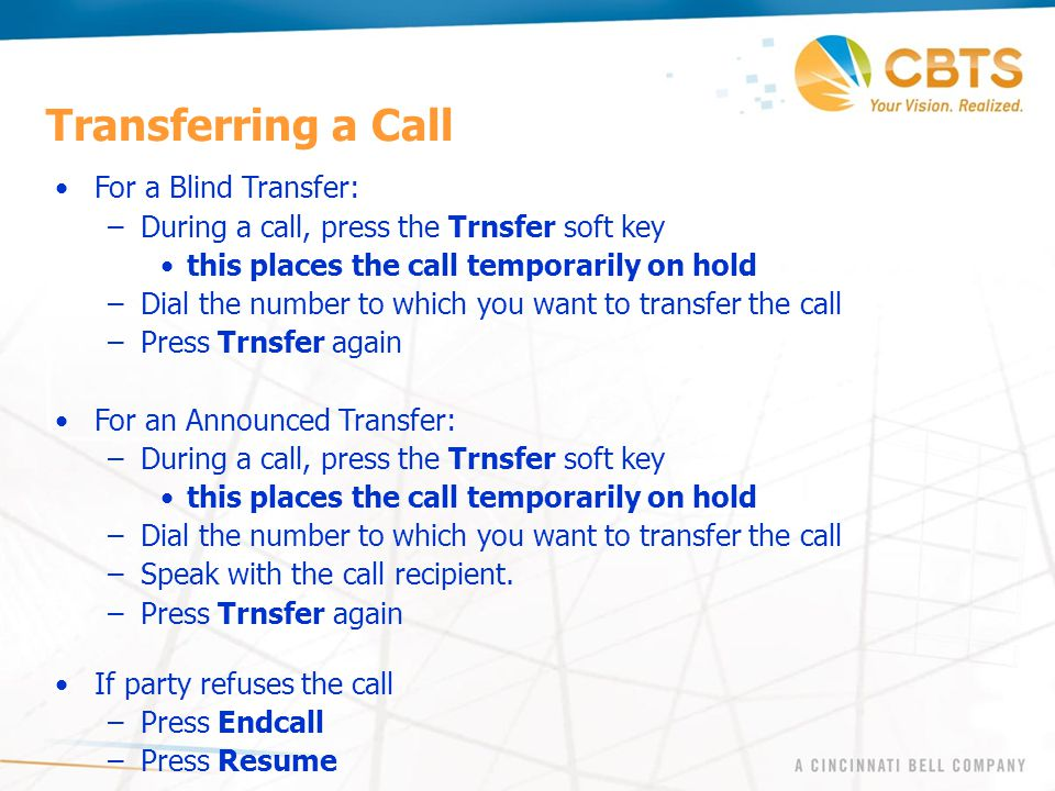Transferring a Call For a Blind Transfer: