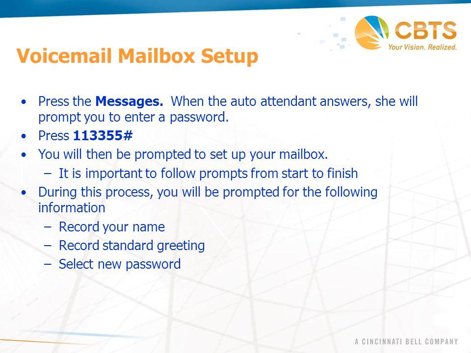 Voicemail Mailbox Setup