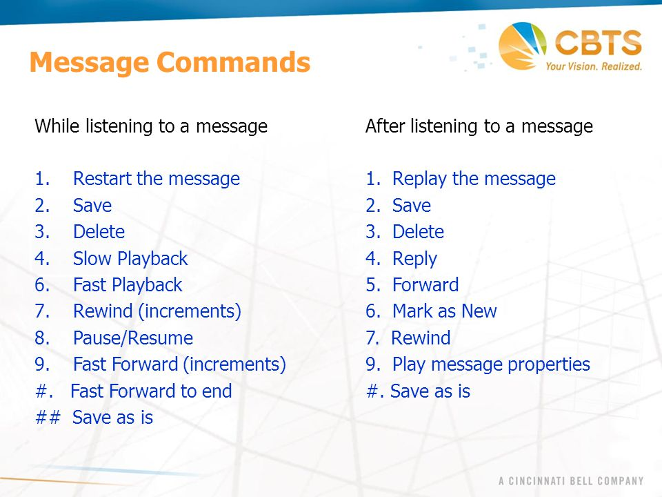 Message Commands While listening to a message After listening to a message. Restart the message 1. Replay the message.