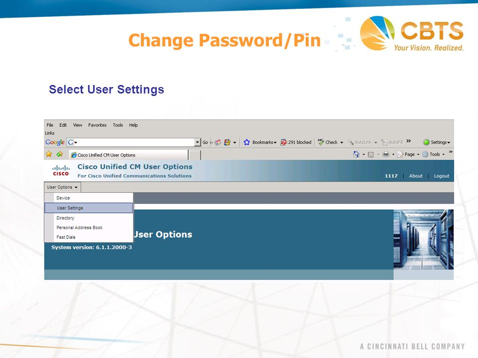 Change Password/Pin Select User Settings