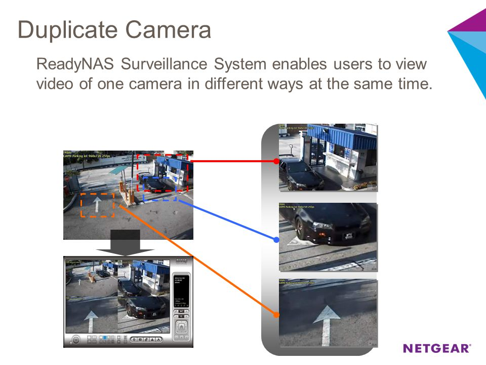 Duplicate Camera ReadyNAS Surveillance System enables users to view video of one camera in different ways at the same time.