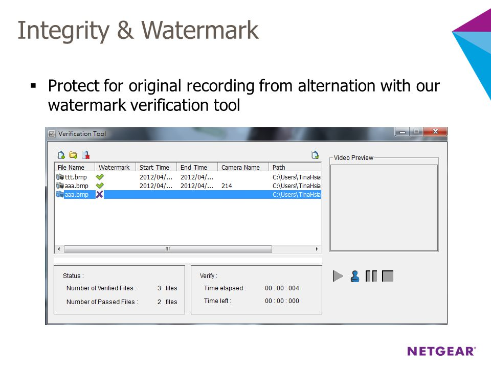 Integrity & Watermark Protect for original recording from alternation with our watermark verification tool.