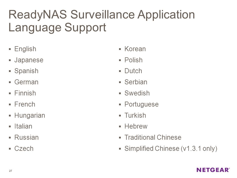 ReadyNAS Surveillance Application Language Support
