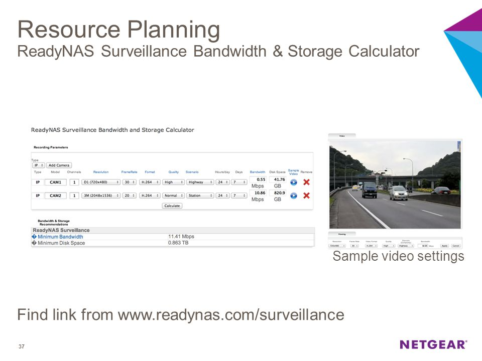 Resource Planning ReadyNAS Surveillance Bandwidth & Storage Calculator